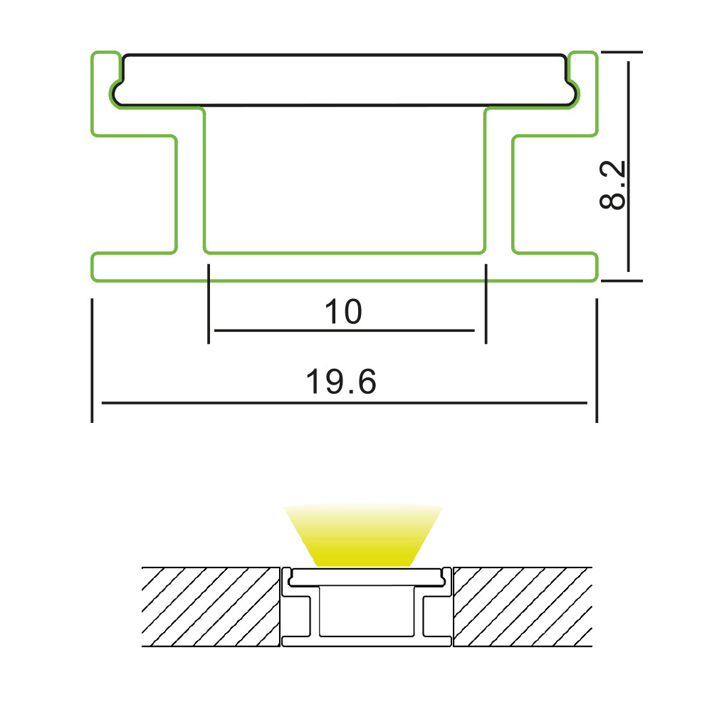Tile Joint Aluminium Profile Channel For LED Strip (2m)