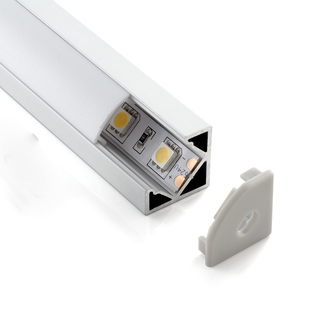 2m ALU07 Corner LED profile set with flat diffuser