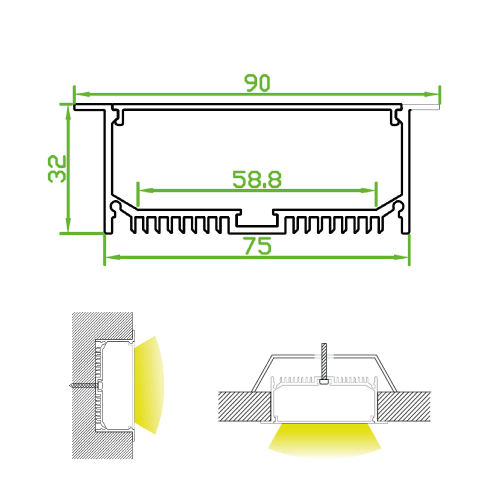 Recessed Luminaire LED Channel for Commercial Primary Lighting (2m)