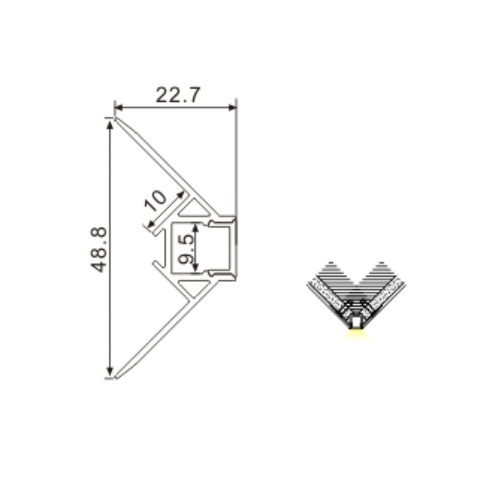 External Corner Recessed Plaster In Aluminium Profile Channel For 8mm LED Strip (2.5m)